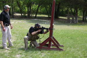 Shooting from cover, strong side to weak side, standing to kneeling.